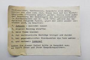 Hinweiszettel zu Diskussionen und Konferenzen / Zuhören / Philips 70er Jahre